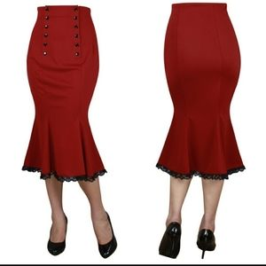 Dresses & Skirts - Pin Up Clothing Pencil Skirt High Waist Lace Red